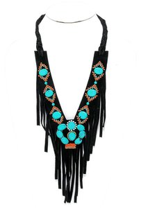 Other Boho Turquoise Stone Suede Leather Fringe V-Collar Necklace