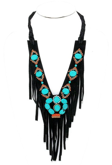 Preload https://img-static.tradesy.com/item/17213821/black-turquoise-boho-stone-suede-leather-fringe-v-collar-necklace-0-1-540-540.jpg