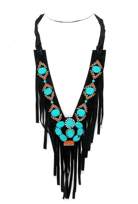 Black Turquoise Boho Stone Suede Leather Fringe V-collar Necklace Black Turquoise Boho Stone Suede Leather Fringe V-collar Necklace Image 1
