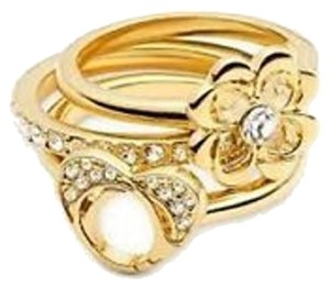 Coach New COACH 95637 Multi Charm Stacking Ring Set Heart Flower Band Size 8