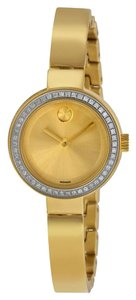 Movado Diamond Set Bezel Gold Plated Stainless Steel Bangle Ladies Designer Dress Watch