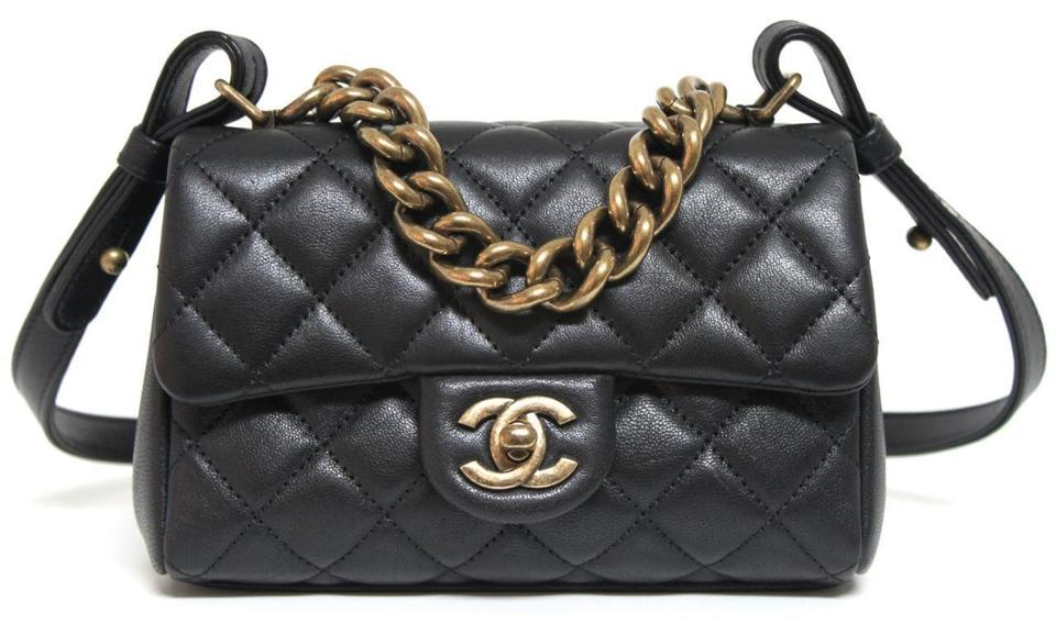 bba190141b8b Chanel Classic Flap Messenger New Mini Trapezio Black Leather Cross ...