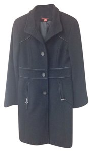 Oscar de la Renta Wool Faux Leather Trench Coat