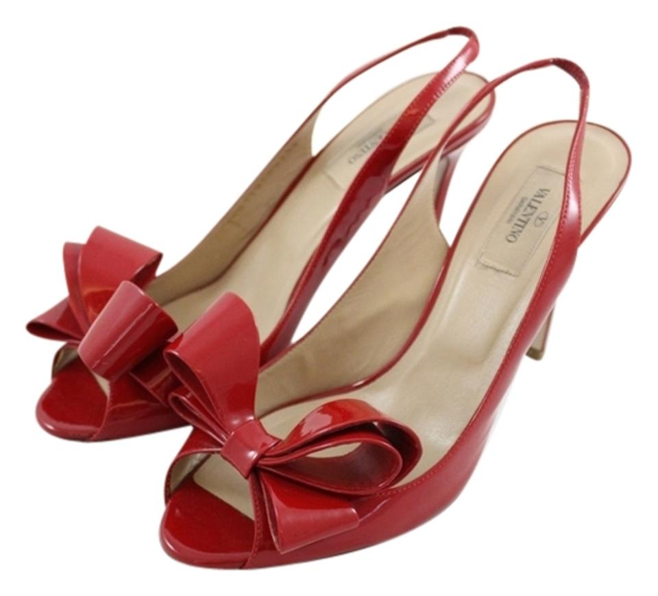 Valentino Patent Red Couture Bow Patent Valentino Leather Slingbacks Heels Pumps 22d23f