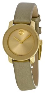 Movado Gold tone Stainless Steel Dial with Olive Green Patent Leather Strap Designer Ladies Watch
