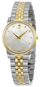 Movado Mother of Pearl Dial with Diamods Silver and Gold Stainless Steel Designer Dress watch