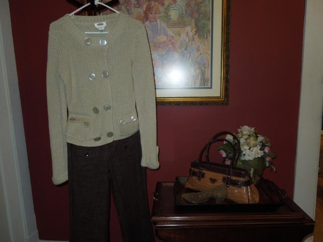 Talbots Sweater Mercerized Cotton Cotton Button Pockets Long Sleeve Mocha Paypal Cardigan