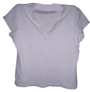 Indigo Palms Ribbed Lace Trim Fitted T-shirt V-neck T Shirt Pink Heather