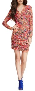 Mara Hoffman short dress Multi Small Mola Red Rayon Ruched on Tradesy