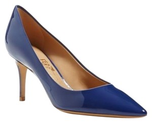 Salvatore Ferragamo Susi Pointed Toe Blue Patent Ocean Blue Pumps