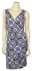 Ann Taylor short dress blue, yello, black, white Summer on Tradesy
