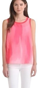 T Tahari Mesh Sleeveless Sporty Scoop Neck Top Pink Lava