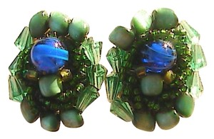 Other Vintage Blue Cat Eye Clip ON Earrings