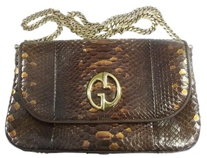 Gucci Python Gold Hardware Long Chain Brown Clutch
