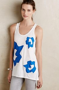 Anthropologie Applique Top White and Blue