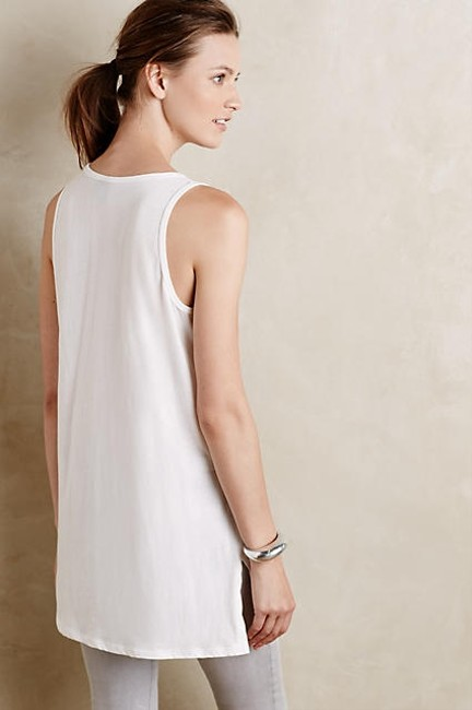 Anthropologie Applique Top White and Blue Image 1