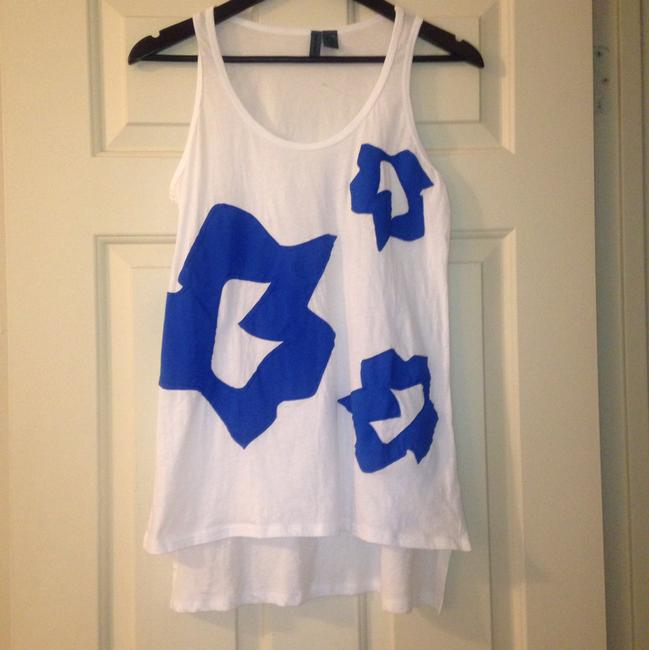 Anthropologie Applique Top White and Blue Image 3