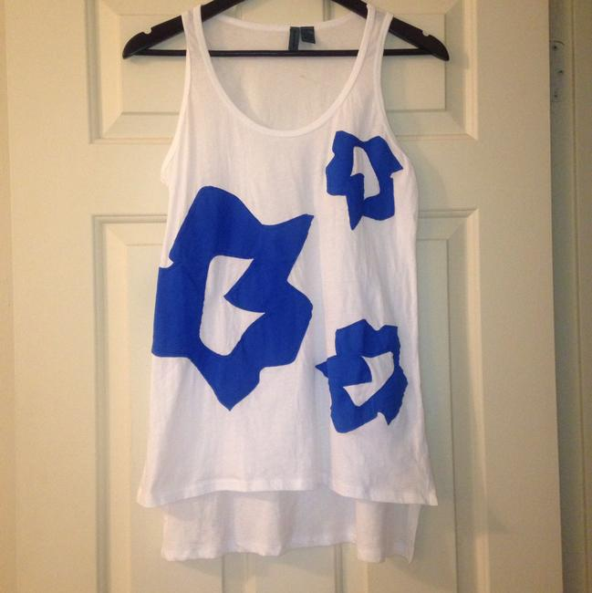 Anthropologie Applique Top White and Blue Image 8