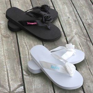 Personalized Bridesmaid Black Or White Flip Flops Wedding Shoes