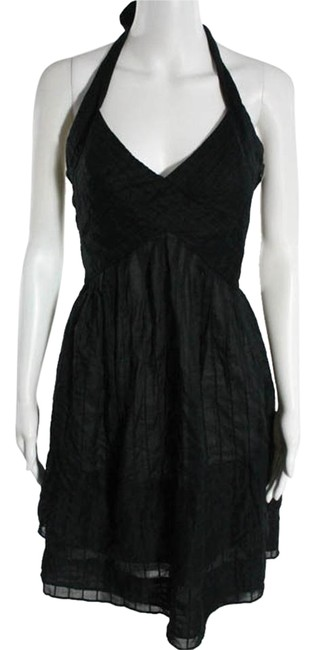 Cynthia Steffe Black Cotton Pintucked Halter Above Knee Cocktail Dress Size 2 (XS) Cynthia Steffe Black Cotton Pintucked Halter Above Knee Cocktail Dress Size 2 (XS) Image 1