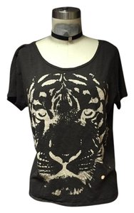 Forever 21 Open Back Low Back Tiger Retro Chic Hipster T Shirt Grey Tiger