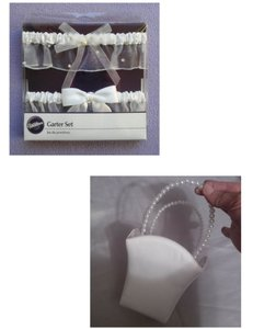 White Flower Girl Basket & Garter Set W/ Pearls