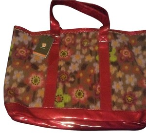 Lindsay Phillips Tote in Floral - Multicolor with red handles