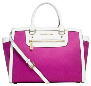 Michael Kors Saffiano Leather Satchel in Fuchsia Pink White/Gold Tone Hardware