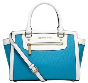 Michael Kors Mk Selma Selma Mk White Mk Large Selma Satchel in Summer Blue White/Gold Tone Hardware