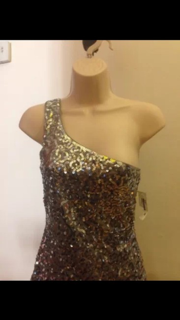 2 Chic Oneshoulder Sequins New Michael Kors Burberry Gucci Prada Top Silver