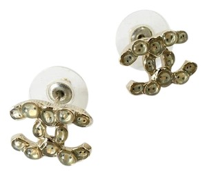 Chanel Gold-tone Chanel textured interlocking CC Logo stud earrings