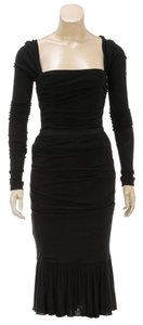 Dolce&Gabbana Dolce & Gabbana Black Long Sleeve Ruched Top and Skirt (Size 40/42)