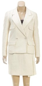 Chanel Chanel Cream Tweed Double Breasted Jacket and Skirt Suit 98C (Size 34)