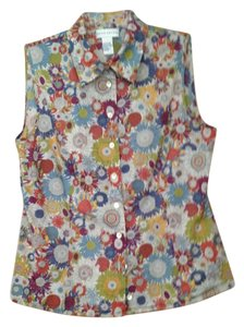 Doncaster Top Multi-colored sunflower pattern