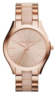 Michael Kors Authentic Michael Kors Slim Runway Rose Gold Tone & Blush Acetate Women's Watch -MK4294
