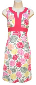 Boden short dress Cream Pink Cotton Shift Floral on Tradesy
