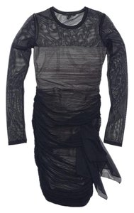 BCBGMAXAZRIA short dress Black Print Mesh Draped Long Sleeve on Tradesy
