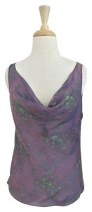 Valentino Draped Floral Chiffon Sleeveless Silk Top purple