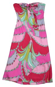 Laundry by Shelli Segal short dress Pink Green Floral Silk on Tradesy