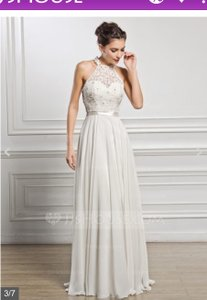A-line/princess Scoop Neck Floor-length Chiffon Lace Wedding Dress With Beading Sequins (002056982) Wedding Dress
