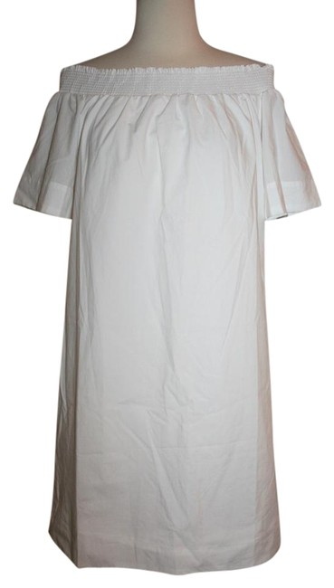 J.Crew White Off-the-shoulder In Cotton Poplin F2302 Above Knee Short Casual Dress Size 4 (S) J.Crew White Off-the-shoulder In Cotton Poplin F2302 Above Knee Short Casual Dress Size 4 (S) Image 1