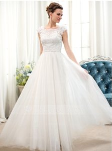 A-line/princess Scoop Neck Floor-length Tulle Lace Wedding Dress With Beading Flower(s) Sequins (002052653) Wedding Dress