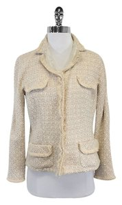 Lida Baday Cream Bronze Metallic Tweed Jacket