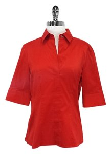 Hugo Boss Red Collared Short Sleeve Shirt Button Down Shirt