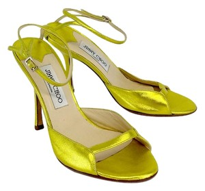 Jimmy Choo Metallic Citrine Yellow Sandals