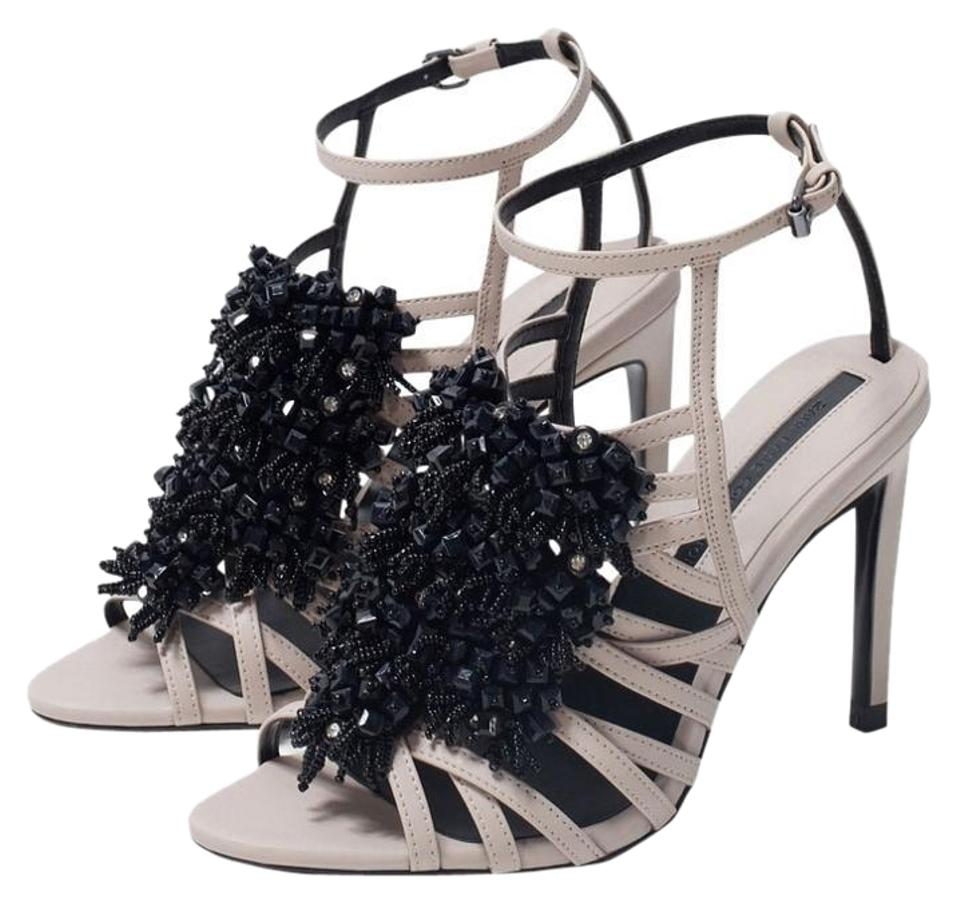 34659016fc Zara Natural New Tags Nude Jeweled Beaded Strappy Sandals Size US ...