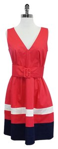 Kate Spade short dress Coral Striped Hem Belted on Tradesy