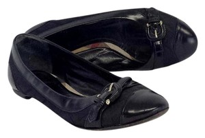 Burberry Black Leather Quilted Fabric Flats
