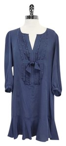 Nanette Lepore Blue Bow Silk Shift Dress