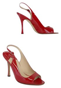 Manolo Blahnik Red Patent Leather Slingback Pumps